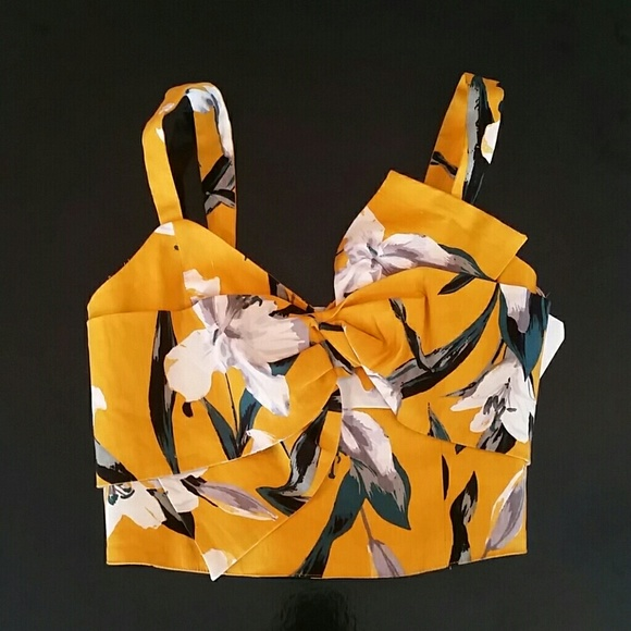 Leith Mustard Yellow Floral Bow Front Top w/Lilies